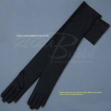 "23.5"" Long 4-Way Stretch Matte Finish Satin Dress Gloves Opera Length 16BL"