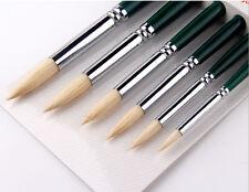 Oil Acrylic Paint Brush 6pcs Round Hog Bristle Hair Artist Art Painting Brushes