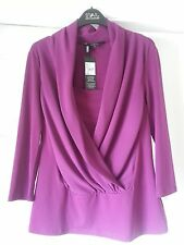 JULIEN MACDONALD Magenta Wrap Jersey Top - Size 12