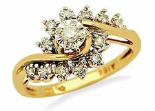 Women's .15 ct Diamond Solitaire with Accents G/VS2 in 10k Solid Yellow Gold