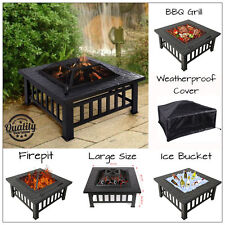 GARDEN FIRE PIT OUTDOOR WOOD LOG BURNER BBQ PATIO HEATER CAMPING FREE COVER
