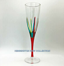 """POSITANO"" CHAMPAGNE FLUTE - RED STEM - HAND PAINTED VENETIAN GLASSWARE"