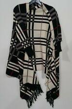 Colleen Lopez Reversible Plaid Knit Topper W/ Fringe SZ M/L