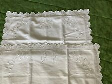 More details for antique hand embroidered french square pillowcases with monogram