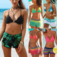 Women Halter Neck Shorts Padded Swimsuit Swimwear Costume Bikini Sets Beachwear