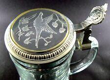 VINTAGE CLEAR GLASS BEER MUG ETCHED DUCK GLASS LID METAL FRAME GERMANY (W8-2)