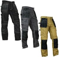 Mens Utility Workwear pants Cordura Knee Reinforcement Work Trousers