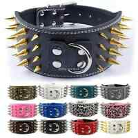 """3.0"""" Wide Spiked Studded PU Leather Dog Collars for Pitbull Boxer Mastiff K9"""