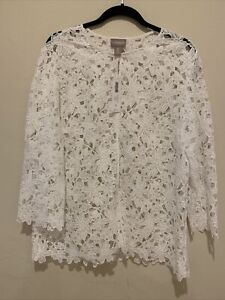 """NWT Chicos """"Solid Embroidered Lace Jacket"""", Optic White - Size 3"""
