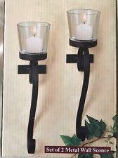 Set of 2 Metal Wall Mounted Candle Sconce With Glass Candle Holder