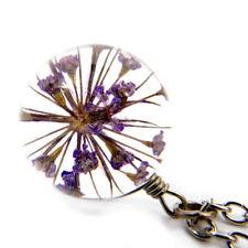 Damen Kette Echte Blüte Lila Halskette Silber Glas Kugel Anhänger Elegant 3D