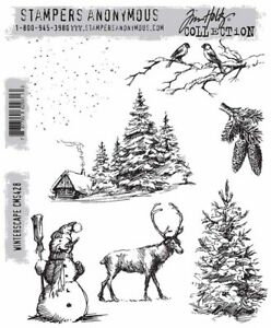 Tim Holtz Cling Rubber Stamps Winterscape CMS428