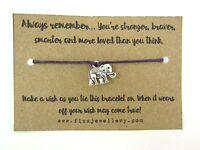 Always Remember Silver Elephant Purple Tie On Message Card Wish Bracelet Gift