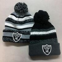 Oakland Raiders Pom Pom Beanie Skull Cap Hat Embroidered Las Vegas