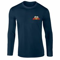 Elmo Face T-shirt, Left Chest Embroidered Gift Longsleeve Top