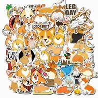 50Pcs Cute Corgi Dog Stickers Skateboard Suitcase Laptop Guitar Car Stickers Cxz