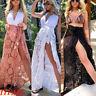 US Women Bikini Cover Up Swimwear Sheer Beach Maxi Wrap Skirt Sarong Pareo Dress