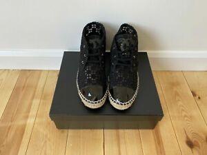 Chanel Black Lace Espadrilles  EU Size 38