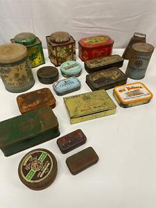BULK LOT 17 Vintage Antique Style Tins -Various sizes and shapes
