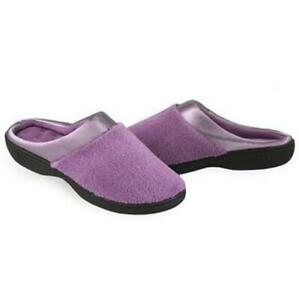 ISOTONER Microterry PillowStep Satin Cuff Clog Slippers for Women: Violet Purple