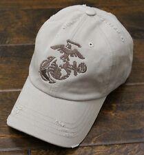 USMC United States Marine Corps - EGA Eagle Globe & Anchor Vintage Hat Khaki