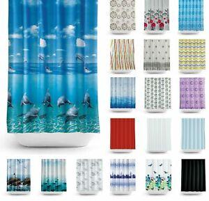 Waterproof Shower Curtains Modern Designs Printed & Plain 12 Hook Set 180x180cm