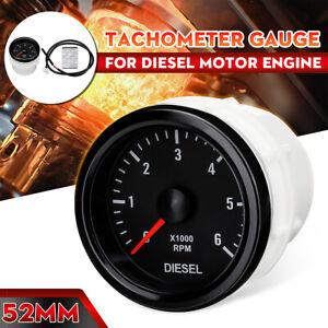 52mm Drehzahlmesser Anzeige Zusatz Instrument Tachometer 0-6000 RPM Dieselmotor