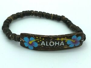 "Hawaii Hawaiian Zero Gravity ALOHA COCONUT Bracelet Anklet Blue Flowers 2.25"""