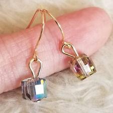 Bead Dangle Gold-tone Hook Earrings Womens Small Colorful Plastic Cubic Plastic
