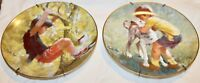 Vtg Lot of 2 Decorative Plate 1982 Carefree Days Best Friends Monkey Business