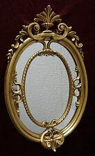 Miroir mural baroque ovale Or Sale couloir 50x31 ancien shabby C457