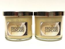 LOT 2 BATH & BODY WORKS FROSTED CUPCAKE 4 OZ SCENTED MEDIUM CANDLES WHITE BARN
