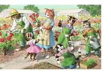 Postcard Cats Alfred Mainzer 4927 Rose Gardening Cats