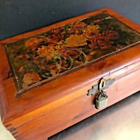 VTG Cedar Box Lock No Key Mother Floral Motif Jewelry Trinket Hankies Storage