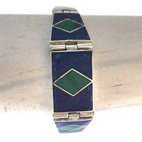 Vintage 950 Sterling Silver Lapis Lazuli & Malachite Inlay Bracelet