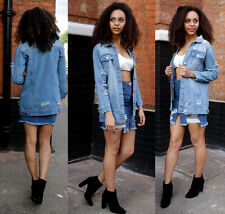 WOMENS Faded Long Line Ripped Oversized Denim Jacket Slim Distressed Jeans Coat