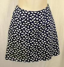 "SKIRTIN AROUND Pencil Short Skirt 6 Navy Blue Cotton ""Happy Fish"" Print"
