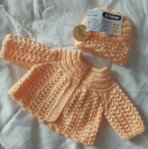 Hand Knitted pale peach Matinee jacket/coat and hat - newborn