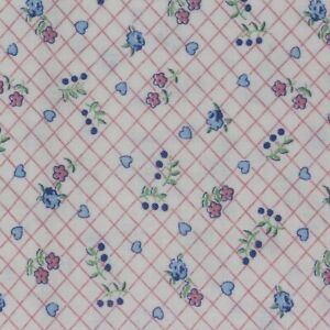"""1/2 Yard Vintage Fabric 34"""" Wide x 18"""" Pink Diamond Floral Blue Green"""
