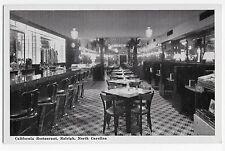 Raleigh NC California Restaurant Vintage Postcard