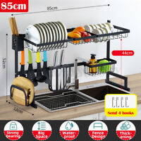 2 Tier Dish Drying Rack Over Sink Kitchen Cutlery Drainer Holder Stainless Steel