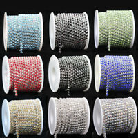 10yard ss6 ss12 ss16 Color Crystal rhinestone silver close chain sewing trim DIY