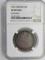 1874 Seated Liberty Half Dollar NGC XF Details Cleaned 90% Silver 50c Coin