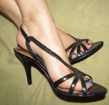 Vintage 1990s Nina Sexy Black Snakeskin leather ankle strap heels women's 6.5 M