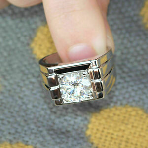 14k White Gold Fn 1.25 ct Round Cut Diamond Men's Solitaire Wedding Pinky Ring