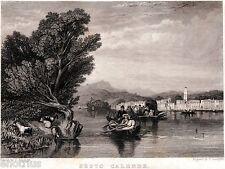 Sesto Calende: Panorama dal Lago Maggiore. Varese. Acciaio. Stampa Antica. 1835