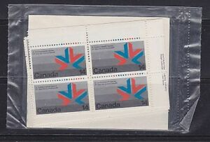 Canada, 1978 Matched Corner Blocks of 4, Games Emblem 757 MNH
