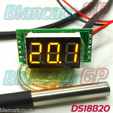 MINI TERMOMETRO DIGITALE -55°C 125°C LED GIALLO DS18B20 SONDA WATERPROOF auto DC