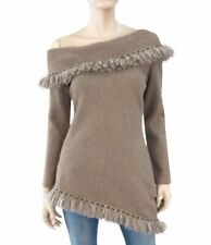 JIKI Beige Knit Fringed Off Shoulder Sweater Top 40 US 4 New With Tags