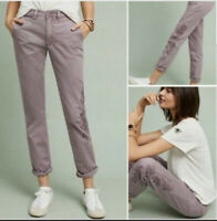 NWT Anthropologie Relaxed Embroidered Lilac Chino Pants Size 29 TALL